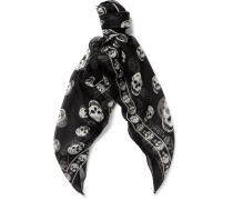 Skull-patterned Silk Scarf