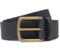 3.5cm Navy Full-grain Leather Belt