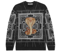 Cuban-fit Cobra-print Fleece-back Cotton-jersey Sweatshirt