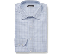 Blue Slim-fit Checked Cotton Shirt