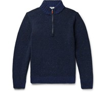 Donegal Merino Wool and Cashmere-Blend Half-Zip Sweater