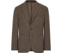 Brown Slim-fit Wool-blend Blazer