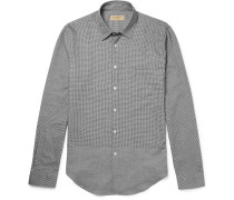 Slim-fit Panelled Houndstooth Cotton Shirt