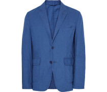 Blue Slim-fit Unstructured Cotton And Linen-blend Blazer