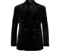 Black Double-breasted Velvet Blazer