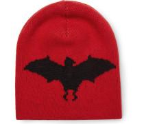 Bat-intarsia Wool And Alpaca-blend Beanie