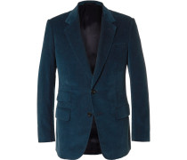 Blue Slim-fit Cotton And Cashmere-blend Corduroy Blazer