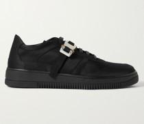 Buckle-Embellished Satin Sneakers