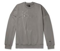 + Champion Logo-Embroidered Organic Loopback Cotton-Jersey Sweatshirt