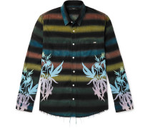 Distressed Printed Embroidered Cotton-Blend Flannel Shirt