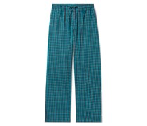 Checked Brushed Cotton-Twill Pyjama Trousers