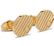 Logo-Engraved Gold-Plated Cufflinks