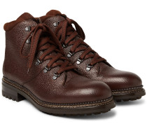 Austin Shearling-lined Weatherproof Pebble-grain Leather Boots