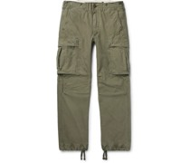 Slim-Fit Tapered Washed-Cotton Cargo Trousers