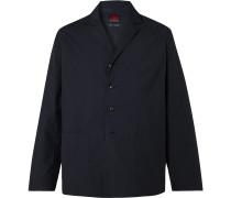 Camp-Collar Unstructured Twill Blazer