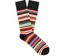 Striped Textured Cotton-Blend Socks