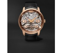 Classic Bridges Automatic Skeleton 45mm Rose Gold and Alligator Watch, Ref. No. 86000-52-001-BB6A