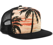 Printed Cotton and Mesh Trucker Cap