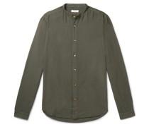Grandad-Collar Woven Shirt
