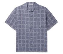 Camp-Collar Logo-Jacquard Linen Shirt