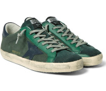 Superstar Distressed Leather-trimmed Canvas Sneakers