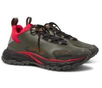 Valentino Garavani Trekking Leather, Suede, Neoprene and Coated-Ripstop Sneakers