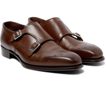 + George Cleverley Brogue-detailed Leather Monk-strap Shoes