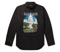 Oversized Button-Down Collar Printed Cotton-Poplin Shirt