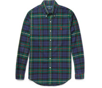 Slim-fit Button-down Collar Checked Stretch-cotton Oxford Shirt