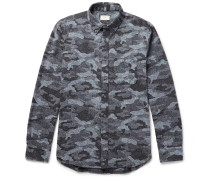 Button-down Collar Camouflage-print Donegal Cotton-blend Shirt