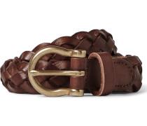 2.5cm Brown Braided Leather Belt