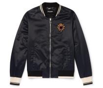 Sacred Heart Embroidered Nylon Bomber Jacket