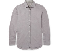 Slim-fit Gingham-trimmed Cotton-twill Shirt