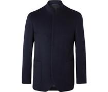 Slim-Fit Nehru-Collar Cashmere Blazer