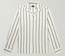 Camp-Collar Striped Woven Shirt