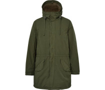 Faux Shearling-lined Brushed-shell Hooded Parka