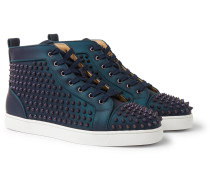 Louis Orlato Spikes Iridescent Leather High-Top Sneakers