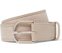 3.5cm Grey Leather-trimmed Linen Belt