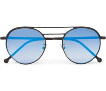 Round-frame Aviator-style Black Metal Mirrored Sunglasses