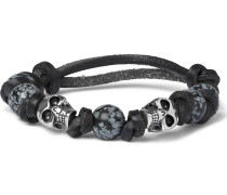 Leather, Bead And Silver-tone Skull Bracelet