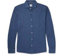 Slim-fit Cutaway-collar Cotton-piqué Shirt