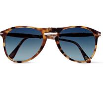 Folding Aviator-style Tortoiseshell Acetate Sunglasses