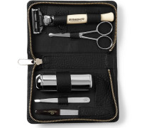 Grained-leather Travel Grooming Kit