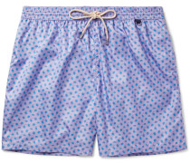 Mid-length Turtle-print Swim Shorts