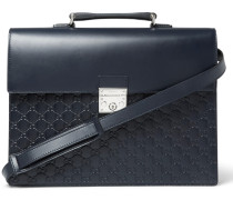 Gg Debossed Leather Briefcase