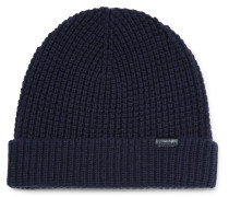 Waffle-knit Stretch Wool-blend Beanie
