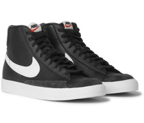 Blazer Mid '77 Vintage Suede-Trimmed Leather High Top Sneakers