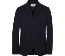 Blue Unstructured Cotton-blend Twill Blazer