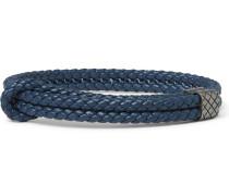 Intrecciato Leather Oxidised Silver Bracelet