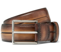 3.5cm Brown Gaspard Polished-leather Belt